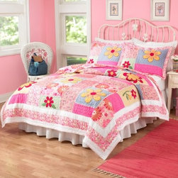 Pem America Olivia Pink Quilt Set - Your little princess will sleep in cozy comfort with the Pem America Olivia Pink Quilt Set. This quilt set's beautiful color palette of pink yellow and blue will coordinate with almost any girl's bedroom decor. The floral pattern also appeals to a wide age range so you can re-decorate the room around it as your child matures. This durable hand-crafted quilt set is made from 100% cotton fabric with 100% cotton fiber fill and has embroidery and ribbon applique for different textures. It's pre-washed for a natural worn look and super-soft feel and is machine washable for easy care.Quilt Set Components:Twin: Quilt 1 pillow shamFull/Queen:Quilt 2 pillow shamsDimensions:Twin Quilt: 86L x 68W inchesFull/Queen Quilt: 86L x 86W inchesPillow Shams: 26L x 20W inchesAbout Pem AmericaMakers of high quality handcrafted textiles Pem America Outlet specializes in bedding that enhances your comfort and emphasizes the importance of a good night's rest. Quilts comforters pillows and other items for the bedroom are made with care and craftsmanship by Pem America. Their products cover a wide range of materials styles colors and designs all made with long-lasting quality construction and soft long-wearing materials. Details like fine stitching embroidery and crochet decorations and reinforced seaming make Pem America bedding comfortable and just right for you and your family.
