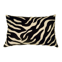 Pillow Decor - Pillow Decor - Linen Zebra Print 16x24 Throw Pillow - A bold black zebra pattern print is splashed across this light sand, 100% linen pillow, front and back. Unlike many other scaled down zebra print designs, this pattern is large enough really do the zebra justice. The more neutral and less contrasting black on sand color combination gives this 16 x 24 rectangular pillow a calm versatility.