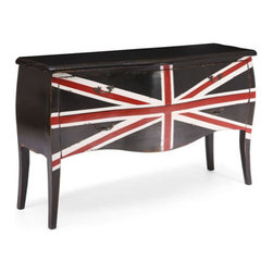 For Sale on HauteBox.co - add flair to any space with the union jack cabinet. made from solid elm and two small drawers for storage. the handles are antiqued metal. union jack console table available at hautebox.co