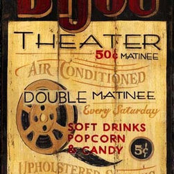 Red Horse Signs - Vintage Theater Signs Bijou Theater - Vintage  Theater  Signs  for  your  In-Home  Theater  Room          Turn  your  media  room  into  an  authentic  theater  with  this  terrific  vintage  theater  sign.  You  can  customize  lettering  for  a  small  fee  and  your  nostalgic  sign  will  refelct  your  own  family's  personal  tastes.  Couple  this  sign  with  a  few  old-time  movie  posters  framed  in  barnwood,  and  you'll  have  the  makings  of  an  old-fashioned  Bijou  (but  without  the  sticky  floors  and  hardened  gum  underneath  the  seats).  Sign  is  14  wide  and  24  high.          Each  of  these  vintage  signs  is  painted  directly  onto  distressed  wood  panels,  creating  a  replica  that  looks  like  a  hand-painted  antique.  Customize  the  wording  on  your  distressign  by  calling  our  toll-free  customer  service  line  at  888-OLD-BARN.          Please  allow  2-3  weeks  for  delivery.