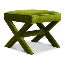 Jonathan Adler X-Bench, Velvet Pickle - I would use a pair of these gorgeous and luxurious benches in the living room or bedroom.