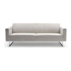 """Artifort - Mare Settee by Ren� Holten - The Mare Sofa will fit both modern and classical surroundings perfectly! Timeless and extremely comfortable, this sofa is available in several fabric and leather upholstery options. The tightly upholstered cushions combined with the cleverly designed slim legs make this sofa transparent and emphasize the design. The legs are an endless part of the sofa, which continue between the arm and frame and the slightly higher frame on the back looks different from every angle. No matter where it is placed, this sofa will look perfect even free-standing. Features:  -High quality construction. -Seat and back constructed of steel springs, combined with PUR Foam and covered with dacron to ensure excellent seating comfort and longevity. -Base is constructed of polished stainless steel. -Available in size small and large . -Available in a stunning array of fabric and leather upholstery options. Care & Maintenance: Please view the Artifort Upholstery Guide to learn more about the fabric and leather upholstery options. Dimensions:  -Small Sofa Dimensions: 28.86"""" H x 79.17"""" W x 31.98"""" D. -Large Sofa Dimensions: 28.86"""" H x 91.65"""" W x 31.98"""" D. -Seat Height: 16.77"""". -Arm Height: 24.18"""". Note: Schematics pictured in centimeters Order with Confidence: -Artifort innovative designs are guaranteed to feature beauty, functionality and form to create a unity that is favorably received throughout the world.. -Should you discover shortly after receiving your Mare Sofa that parts are damaged, please call us immediately and we will be happy to send you replacement parts as soon as possible and at no additional cost.."""