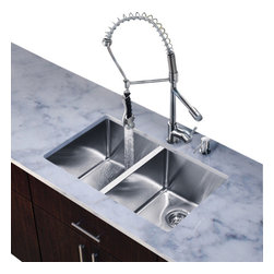 Vigo Industries - All in One Kitchen Sink with Faucet Set - Includes soap dispenser, two matching bottom grids and two sink strainers