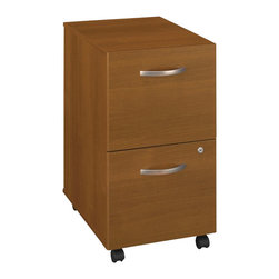 Bush - Bush Series C Mobile 2 Drawer File Pedestal in Warm Oak - Bush - Filing Cabinets - WC67552 -