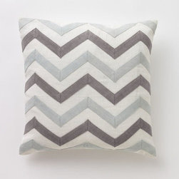 "DwellStudio - Zig Zag Linen Decorative Pillow - Features: -Zig Zag collection. -Color: Mist. -100% Linen with linen appliqué. -Hand stitched. -Feather/down insert included. -Zipper closure. -Cleaning and care: Dry clean only. Dimensions: -18"" H x 18"" W."