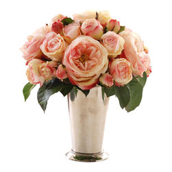 Jane Seymour Botanicals - Roses in Julep Cup - Pink roses — symbols of elegance and grace —instantly raise the posh profile of your decor. Plus, this bounty of beautiful blooms will never lose a single petal. Now, that's true love!