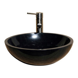 The Allstone Group - V-VR166 Black Granite Polished Vessel Sink - Natural stone strikes a balance between beauty and function. Each design is hand-hewn from 100% natural stone.  Vessel sinks can be the most inspiring feature in a bathroom, adding style and beauty to any bath space.  Stone not only is pleasing to the eye but also has the feel of something natural and solid.