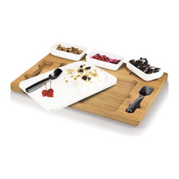 Picnic Time - Parlor Ice Cream Mixing Set - Natural Wood - The Parlor Ice Cream Mixing Set is a Picnic Time original design that will delight your family members and party guests. The Parlor features a marble slab, two mixing spades, and three ceramic dishes that sit in a beautiful bamboo base. Freeze the marble slab for several hours, fill the dishes with yummy mix-ins, and you're ready to start creating delicious ice cream or frozen yogurt treats everyone will enjoy.