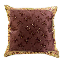 Banarsi Designs - Hand Embroidered Pillow Cover, Set of 2, Coffee Brown - Discover our exclusive and unique Hand Embroidered pillow cover collection from Banarsi Designs. This set of pillow covers incorporates hand embroidery and features radiant and expressive tones. These decorative pillow covers measure 16x16 inches and are sold as a pair. Made in India.