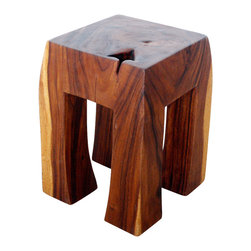 Kammika - Blocky Stool Sust Wood 13 inch Top x 15 B x 19 High w Eco Friendly Tung Oil Fin - Our Blocky Stool Sustainable Monkey Pod Wood 13 Inch Square Top x 15 Inch Square Base x 19 inch height with Eco Friendly, Natural food-safe Tung Oil Finish is a large piece of Monkey Pod wood carved reminiscent of the butcher block style kitchen decor. This versatile sturdy piece is solid and reliable as a stool, stand or end table. The Tung oil finish is food safe as well as water resistant. Hand carved from a solid piece of sustainable Monkey Pod wood, craftspeople from the Chiang Mai area in Northern Thailand create these unique pieces with the simplest of tools. Each piece is a Work of Art, Functional Sustainable Monkey Pod Wood Eco Friendly Art! After each sustainable Monkey Pod wood (Acacia, Koa, Rain Tree grown for wood carving) piece is kiln dried, and carved, it is rubbed in eco friendly natural Tung oil creating a highly water resistant and food safe matte finish. The light and dark portions of wood turn to darker shades of brown over time and the alkaline in the oils creates a honey orange color. There is no oily feel, and cannot bleed into carpets. Crafted from a sustainable Monkey Pod wood species, we make minimal use of electric hand sanders in the finishing process. This piece is dried in solar or propane kilns. No chemicals are used in the process, ever. This piece, made from the thick branches of the quick-growing Acacia tree in Thailand - where each branch is cut and carved to order (allowing the tree to continue growing), is packaged with cartons from recycled cardboard with no plastic or other fillers. As this is a natural product, the color and grain of your piece of Nature will be unique, and may include small checks or cracks that occur when the wood is dried. Sizes are approximate. Products could have visible marks from tools used, patches from small repairs, knot holes, natural inclusions or holes. There may be various separations or cracks on your piece when it arrives. There may be some slight variation in size, color, texture, and finish.Only listed product included.