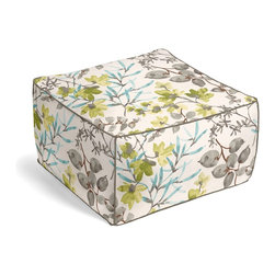 Aqua & Gray Watercolor Floral Square Pouf - The Square Pouf is the hottest thing in decor since the sectional sofa. This bean-bag-meets-Moroccan-style ottoman does triple duty as a comfy extra seat, fashion-forward footstool, or part-time occasional table.  We love it in this gray, aqua & spring green watercolor floral. Your room will be awash with color & class.
