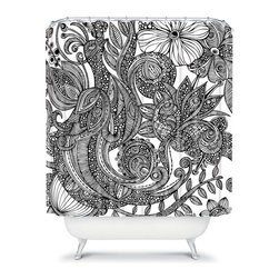 DENY Designs - DENY Designs Valentina Ramos Black White Shower Curtain - 13499-SHOCUR - Shop for Shower Curtains from Hayneedle.com! With a mesmerizing designer print the DENY Designs Valentina Ramos Black White Shower Curtain is just what you need. This gorgeous shower curtain is made from durable woven polyester and is sure to bring some life into your bathroom. Getting squeaky clean never looked so good.About DENY DesignsDenver Colorado based DENY Designs is a modern home furnishings company that believes in doing things differently. DENY encourages customers to make a personal statement with personal images or by selecting from the extensive gallery. The coolest part is that each purchase gives the super talented artists part of the proceeds. That allows DENY to support art communities all over the world while also spreading the creative love! Each DENY piece is custom created as it's ordered instead of being held in a warehouse. A dye printing process is used to ensure colorfastness and durability that make these true heirloom pieces. From custom furniture pieces to textiles everything made is unique and distinctively DENY.