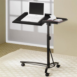 Coaster - Adjustable Laptop Stand - Adjustable swivel top. Larger section for computer and smaller section for mouse. Casters at the base for mobility. Black color. 28.25 in. W x 19 in. D x 24.5 in. - 33.75 in. H. WarrantyThis simple and stylish laptop stand offers convenient laptop use wherever you are in your home. Tilt the surface for comfortable use, while ridges at the edge hold your laptop in place.
