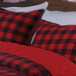 None - Western Plaid Red/ Black Quilted Standard-size Shams (Set of 2) - Dress up your bed with this preppy plaid sham set. Classically retro, this Western red and black plaid quilted pillow sham set features a double diamond stitch pattern for visual interest and durability.