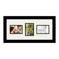 ArtToFrames - ArtToFrames Collage Photo Frame  with 3 - 3.5x5 Openings - This classic Satin Black, 1.25 inch wide collage frame, features a setup for 3 - 3.5x5 artwork of your choice. This collage is part of an extensive collage frame compilation and boasts a vast line of carefully constructed frames at a low-cost you can be happy about! Homespun and formed to outfit your artwork ensuring you 3 - 3.5x5 art will fit exactly so. Bordered in a bold Satin Black, sophisticated frame and joined by a sophisticated Super White mat, the collage arrangement most definitely shows off your original prized artwork, and best memories in an entirely unique and fun way. This collage frame comes protected in Regular Glass, easy-to-use with proper hardware and can be presented within a few seconds. These premium quality and rustic wood-based collage frames vary in tone and size; all in contemporary and modern design. Mats are available in a multitude of color tones, spaces, and shapes. It's time to tell your story! Preserving your memories in an original and imaginative contemporary way has never been easier.