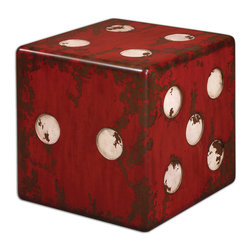 Uttermost - Dice Red Accent Table - Ante up! You will love the way this accent table wakes up and shakes up your space. It's perfect for a game room and a conversation piece for any other room in your home.