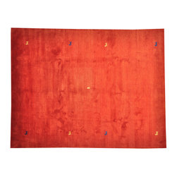 100% Wool Red Modern Gabbeh with Animals Hand Knotted 8'x11' Rug SH14368 - Our Modern & Contemporary Rug Collections are directly imported out of India & China.  The designs range from, solid, striped, geometric, modern, and abstract.  The color schemes range from very soft to very vibrant.