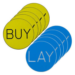 Trademark Poker - BUY-LAY Chip Buttons for Craps - Set of 10 - Set of 10. 1.25 inch Diameter Buy/Lay chip button has the words BUY on one side and LAY on the other side engraved into the chip. The thickness of the button is about 1/8 inch thick