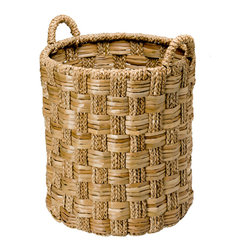 Kouboo - Round Braided Sea grass Basket, Large - Use this basket anywhere in your house whether it is your foyer or your bedroom. The tall size makes it an ideal storage basket for large items. The sea grass is woven in an intriguing pattern making this work horse pretty to look at.