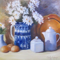 Oil Paintings by Cheri - Blue and White Still Life Painting - Kitchen Hospitality - Kitchen Hospitality is a painting with daisies, blue and white vase, white creamer and sugar, brown eggs, and a copper plate in the background to give it some extra color.