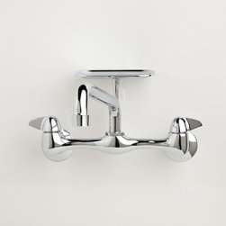 "Wall-Mount Sink Faucet with Soap Tray - Chrome - Adjustable Centers & 12"" Spout - This kitchen faucet features a straight spout, metal lever handles, and a raised soap dish. The extended reach tubular spout is ideal for preparing food and washing dishes in large sinks."