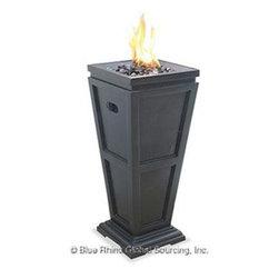 Blue Rhino - Gas Column Firepit Med LP - Blue Rhino /Uniflame LP Gas Column Firepit - Black Glass Faux Stone case Medium