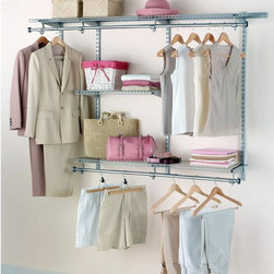 """Rubbermaid - Rubbermaid Configurations Titanium Finish 3 - 6 ft. Classic Closet Kit - FG3H110 - Shop for Closet from Hayneedle.com! Make the most of your closet space with the customizable Rubbermaid Configurations Titanium Finish 3-6 ft. Classic Closet Kit - FG3H1102TITNM. This is proper shelving for any reach-in or walk-in closet that installs with ease and won't require you to cut into your walls. Its shimmering titanium finish looks great anywhere and the telescoping rods and expanding shelves add up to 12 feet of shelving and hanging space. Best of all if you ever need more storage space you can just pop on a few Rubbermaid accessories hassle-free!Pieces IncludedThree 26-inch shelvesTwo 36-inch shelvesTwo 36-inch top rail10 bracketsFour 47.5-inch uprights2 hang rodsAbout RubbermaidRubbermaid represents innovative high-quality products that make life a little simpler. Starting with housewares Rubbermaid has expanding into various areas including home and garden and commercial products. Rubbermaid has been recognized as a """"Brand of the Century"""" and is one of only 100 companies named as having an impact on the American way of life. Headquartered in Atlanta GA. Rubbermaid can be found almost anywhere from grocery stores to hardware stores to your own kitchen.Being involved in the local community is a cornerstone of the Rubbermaid company and they continually invest in programs that matter to employees and enrich the lives of everyone from child to adult."""