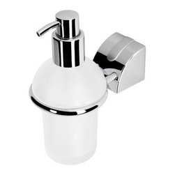 Geesa - Wall Mounted Frosted Glass Soap Dispenser with Chromed Mounting - Wall mounted contemporary style square soap dispenser.