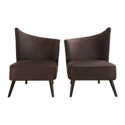 Armen Living - Armen Living Elegant Accent Chair with Flaired Back - Black Microfiber - LC2132M - Shop for Living Room Chairs from Hayneedle.com! For decor that truly flows furnish your lounge area with the Armen Living Elegant Accent Chair with Flaired Back Black Microfiber. This chair's sloping back is a unique modern design that looks great when paired with an opposing model side-by-side for a beautifully symmetrical presentation. Both left and right flaired back designs are available each of which is made from a kiln-dried wood frame and sleek black microfiber upholstery that's soft to the touch and easy to clean. Measures: 28W x 25D x 39H inches and features 1.8 density fire retardant foam cushioning for your comfort. Some assembly is required.About Armen LivingImagine furniture without limits - youthful robust refined exuding self-expression at every angle. These are the tenets Armen Living's designers abide by when creating their modern furniture collections. Building on more than 30 years of industry experience Armen Living combines functional versatility and expert craftsmanship into their dramatic furniture styles all offered at price points fit for discriminating budgets. Product categories include bar stools club chairs dining tables ottomans sofas and more. Armen Living is based in Sun Valley Calif.