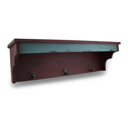 Zeckos - Distressed Finish Red Enamel Wall Shelf with Brass Coat Hooks - This shabby chic red and light blue wooden wall shelf adds an antique touch to your kitchen, hallway or back entranceway. Measuring approximately 24 inches long, 7 inches tall and 6 3/4 inches wide, the shelf gives you extra space in the kitchen for knick knacks, plants or saucers, and has a trio of brass finished hooks from which you can hand aprons, coffee mugs or keys. hand one in your mud room for keeping coats, scarves, glove and dog leashes ever at the ready. It makes a great gift.