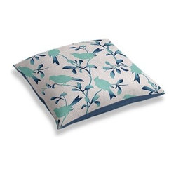 Aqua Bird Silhouette Custom Floor Pillow - A couch overflowing with friends is a great problem to have.  But don't just sit there: grab a Simple Floor Pillow.  Pile em up for maximum snugging or set around the coffee table for a casual dinner party. We love it in this aqua and blue stenciled bird print on natural-colored heathered cotton: a modern motif that will make any room sing a new song.