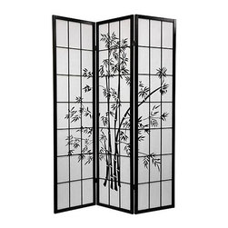 Oriental Unlimited - Lucky Bamboo Room Divider (3 Panels / Black) - Finish: 3 Panels / BlackDisplay as an art screen. Display for privacy and to define space. Crafted from durable, lightweight Scandinavian spruce. Crafted using Asian style mortise and tenon joinery. Fold slightly to stand upright. Shade is strong. Fiber reinforced. Pressed pulp rice paper allows diffused light yet provides complete privacy. Lacquered brass, 2-way hinges mean you can bend the panels in either direction. Pattern repeats every 3 panels. Shown in Black finish with 3-panels. Assembly required. Each panel: 17.5 in W x .75 in. D x 70.25 in. H. 3-Panel screen: 51.75 in. wide (flat); 45 in. wide (panels folded)