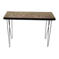 "Urban Wood Goods - Chicago Reclaimed Wood Console Table - Thick , 72"" x 11.5"" - Our Urban Loft console table design featuring the Chicago skyline etched into the reclaimed wood top and accented with mid-century styled hairpin legs. Each Chicago skyline bench is one-of-a-kind, and makes the perfect gift for yourself or someone else. A great way to commemorate the Windy City on a beautiful slab of salvaged old growth Douglas Fir that once supported the floors of a century old home, barn or building in the midwestern United States."