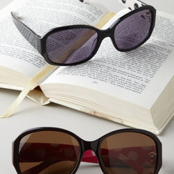 """kate spade new york - kate spade new york """"Leatrice"""" Sun Readers - Fashion and function collide in the best possible way with these sun readers from Kate Spade. Made of acetate. Select color and power when ordering. Keep in case (included) when not in use. 6.5""""W x 3.5""""D x 3.5""""T. Imported."""