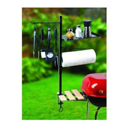"Maverick - Maverick BBQ Accessory Organize - Four double-sided hooks for holding your most important barbecue tools. Paper Towel Holder is a must have when grilling up your favorite messy sauce or marinade recipe. Shelf for your spices and/or cooking gadgets. Also acts as a cover for the paper towels. Large 3-1/2"" screw clamp mounts to any grill or table. Our ACCESSORY ORGANIZER makes cooking easier. Now you can have BBQ tools and cooking supplies readily accessible by clamping them to your grill or table! Dimensions: Pole: 27.50"" X 0.750"" X 0.750""; Shelf: 11.50"" X 7.5"" X 0.56""; Clamp: 3.50""."
