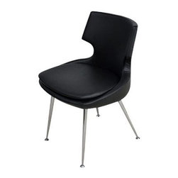 "sohoConcept - Patara Leather Chair in Black - Set of 2 - Set of 2. A distinctive dining chair with a comfortable upholstered seat. Backrest on chromed steel tube legs. The legs have adjustable pod feet to level the chair on uneven surfaces and the feet are plastic tipped. Its padded removable seat cushion provides extra comfort to the user. Seat has a steel structure with ""S"" shape springs for extra flexibility and strength. Steel frame molded by injecting polyurethane foam. Seat is upholstered with a removable zipper enclosed leather, PPM or wool fabric slip cover. Suitable for both residential and commercial use. Black Leather finish. 18 in. L x 18.5 in. W, Seat Height: 18.5 in."