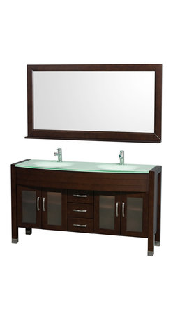 "Wyndham Collection - Daytona Bathroom Vanity in Espresso, Green Glass Top, Green Integral Sinks - The Daytona 60"" Double Bathroom Vanity Set - a modern classic with elegant, contemporary lines. This beautiful centerpiece, made in solid, eco-friendly zero emissions wood, comes complete with mirror and choice of counter for any decor. From fully extending drawer glides and soft-close doors to the 3/4"" glass or marble counter, quality comes first, like all Wyndham Collection products. Doors are made with fully framed glass inserts, and back paneling is standard. Available in gorgeous contemporary Cherry or rich, warm Espresso (a true Espresso that's not almost black to cover inferior wood imperfections). Transform your bathroom into a talking point with this Wyndham Collection original design, only available in limited numbers. All counters are pre-drilled for single-hole faucets, but stone counters may have additional holes drilled on-site."