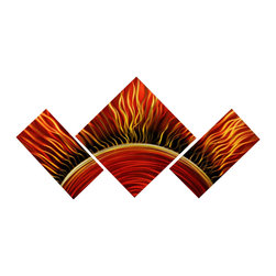 Matthew's Art Gallery - Metal Wall Art Abstract Red Orange Modern Burning Sun - Name: Burning Sun