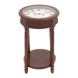 "ecWorld - Urban Designs 26"" Round Wooden Clock Accent Table - Brown - Form and function meet to create this unique accent table. Designed for today's most stylish living room decor it showcases a round working clock with Roman numerals and a tempered glass top that adds a touch of class to the warm espresso finish.  A bottom shelf contributes additional storage space. Ideal next to a sofa or chair."