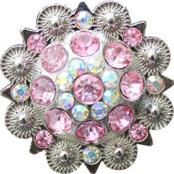 DaRosa Creations - Crystal Drawer Knob with Pink and Iridescence Crystals - Crystal Drawer Knob with Pink and Iridescence Crystals