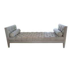 """Used Tufted Daybed Sofa - Modern design meets old world glamour in this hand tufted, wood framed daybed. The daybed is upholstered in Jim Thompson linen/silk fabric in Mica (soft grey). The sofa features beautiful welting detail and fabric covered legs. The sofa includes two bolster pillows. There is one very minor (dime size) spotting on the fabric, which could likely be removed with simple upholstery cleaning. The daybed was fibercare treated.     Height of the arm is 32.5"""", height of the seat is 17""""."""