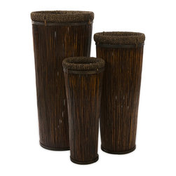 iMax - iMax Langham Tall Willow Planters X-3-73076 - Exotic, dark brown set of three tall planters in graduated sizes. Made of willow,