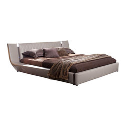 VIG Furniture - Denmark - Contemporary Leatherette Bed w iPhone Music Dock & Speakers, Cal. King - Modern Grey Eco-Leather Bed