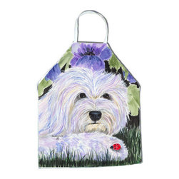 Caroline's Treasures - Coton de Tulear Apron - Apron, Bib Style, 27 in H x 31 in W; 100 percent  Ultra Spun Poly, White, braided nylon tie straps, sewn cloth neckband. These bib style aprons are not just for cooking - they are also great for cleaning, gardening, art projects, and other activities, too!