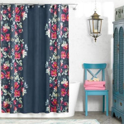 Ellery Holdings Llc - Anthology Penelope 72-Inch x 72-Inch Shower Curtain - This uniquely beautiful curtain features garlands of fuschia blossoms, green leaves and gold accents on a rich navy background. It calls to mind a garden entrance at twilight.