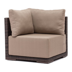 ZUO VIVA - Park Island Corner Brown - Sit in comfort on the Park Island Corner. Made from an aluminum frame with a polypropylene weave. The overstuffed cushions are UV and water resistant. Sink into the Park Island and enjoy!