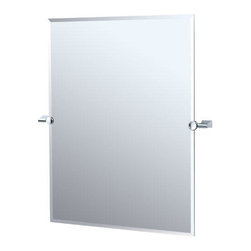 Bleu Collection Rectangular Tilting Mirror - This rectangular tilting mirror allows you to easily adjust its angle.  The clean design and simple mounting hardware make this an ideal choice for your modern bath.