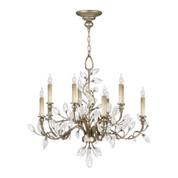 Fine Art Lamps - Crystal Laurel Silver Chandelier, 753140ST - Does your idea of romance involve an evening stroll in the garden followed by a candlelit dinner? Wrap the image of that enchanted evening, from the leafy arbor under the silvery moon to the crystal glasses twinkling in the candlelight, up into one graceful form, and it might look something like this candelabra chandelier, with curving arms entwined in vines of faceted crystal leaves.