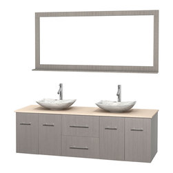 "Wyndham Collection - Centra 72"" Grey Oak Double Vanity, Ivory Marble Top, White Carrera Marble Sinks - Simplicity and elegance combine in the perfect lines of the Centra vanity by the Wyndham Collection. If cutting-edge contemporary design is your style then the Centra vanity is for you - modern, chic and built to last a lifetime. Available with green glass, pure white man-made stone, ivory marble or white carrera marble counters, with stunning vessel or undermount sink(s) and matching mirror(s). Featuring soft close door hinges, drawer glides, and meticulously finished with brushed chrome hardware. The attention to detail on this beautiful vanity is second to none."
