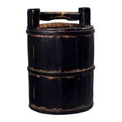 Antique Revival - Black Vintage Soy Sauce Bucket - A handcrafted, vintage original piece, collected and refinished. These wonderful little pieces will decorate your living room or entranceway with ease. Features the iron banding and black finish, these buckets will be in your home to stay. Each item is unique and one-of-a-kind and dimensions/features may slightly vary.